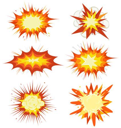 Illustratie van een reeks van comic book explosie, ontploffing en andere cartoon brandbom, bang en exploderende symbolen