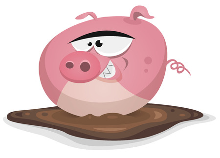 muck: Illustration of a cartoon farm pig character taking a wash in his mud bath Illustration