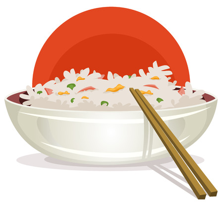 arroz chino: Ilustración de un plato de arroz frito de dibujos animados con los palillos chinos para el fondo comida asiática, con jamón, guisantes y huevo