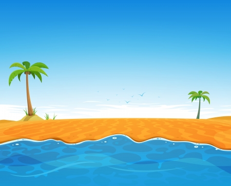 Illustration of a cartoon summer season ocean beach with beautiful sky background Illustration