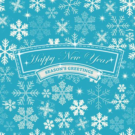 seasons: Illustratie van een naadloze abstracte Gelukkig Nieuwjaar vooravond behang, voor de winter groeten van het seizoen, december en januari vakantie achtergrond met sneeuwvlokken patronen Stock Illustratie
