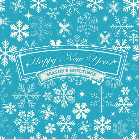 holiday season: Illustration of a seamless abstract happy new years eve wallpaper, for winter seasons greetings, december and january holidays background with snowflakes patterns