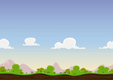 never ending: Illustration of a cartoon seamless never ending horizontal spring or summer landscape background loop, with grass, soil, bush, mountains range and clouds in the sky