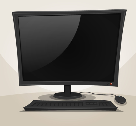 computer mouse: Illustration of a cartoon desktop computer turned off, with mouse, keyboard and empty black screen