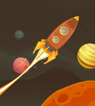 Illustration of a cartoon retro red spaceship blasting off and exploring space and planets