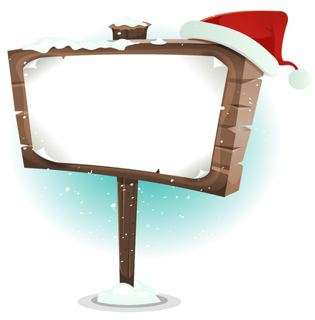 settled: Illustration of a cartoon red santa claus hat settled on snowy wood sign for merry christmas holidays advertisement