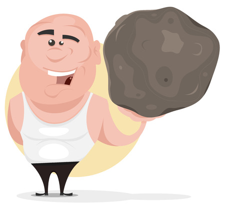 Illustration of a cartoon strong mighty man holding easily a big boulder as if it was a feather Vector