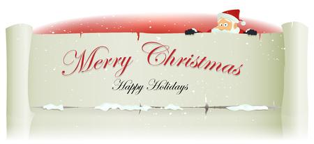Illustration d'un heureux caractère du père noël de bande dessinée se cachant derrière signe de parchemin blanc pour les vacances de Noël joyeux et les enfants liste de cadeaux Banque d'images - 23863557