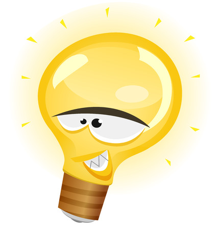metal light bulb icon: Illustration of a cartoon happy light bulb character smiling and symbolizing brilliant ideas