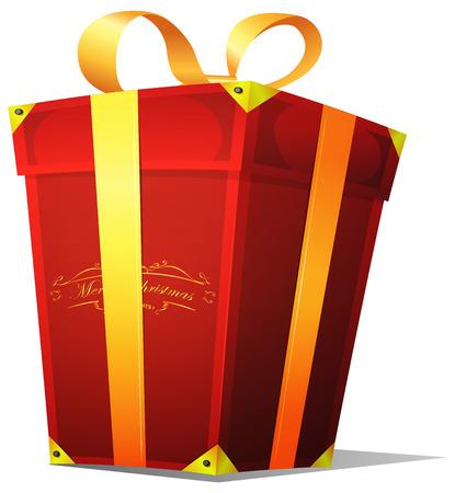 red gift box: Illustration of a cartoon christmas big red gift box for birthdays, santa holidays