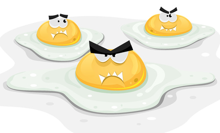 Ilustration of a funny group of cartoon angry fried chicken eggs character ready for lunch