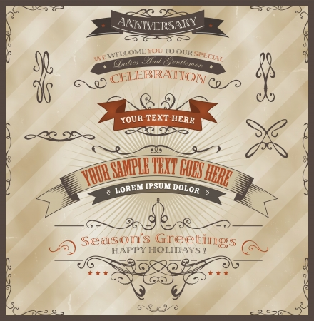 Illustration of vintage grunge banners and ribbons, for invitation documents background, seasons greetings, holidays celebration with sketched floral patterns, text and design elements