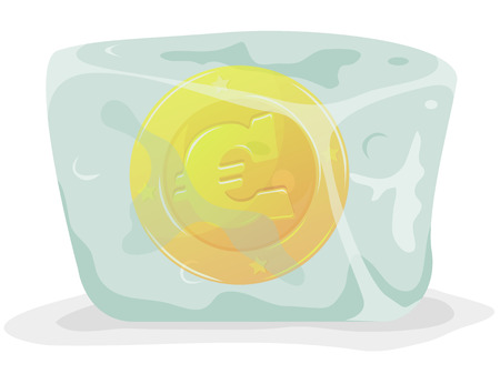 trapped: Illustration of a gold euro currency coin frozen inside cartoon glossy and bright ice block