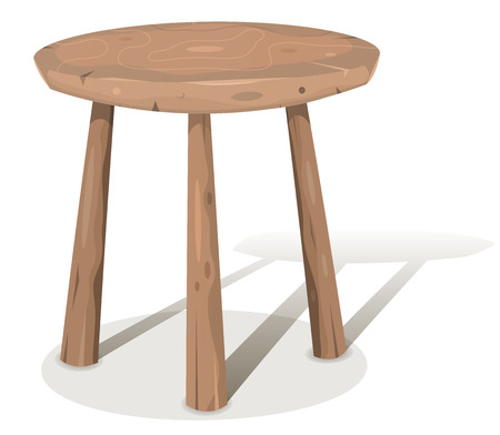 Illustration of a cartoon styled wooden stool or table with shadows