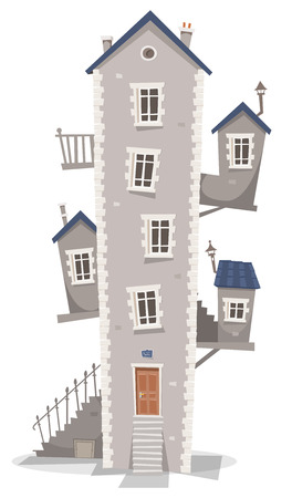 dwelling house: Illustration of a cartoon old high thin building house with windows, little rooms on each side and stairs Illustration