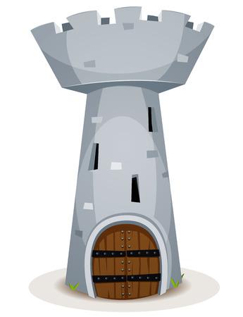 Illustration einer Karikatur mittelalterlichen Burgfried einer Burg, mit Felsen und Steine ??Wand, große Holz gepanzerte Tür und Slots