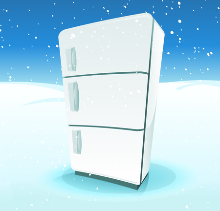 cold storage: Illustration of a cartoon fridge inside cold winter north pole landscape, with snow and ice background