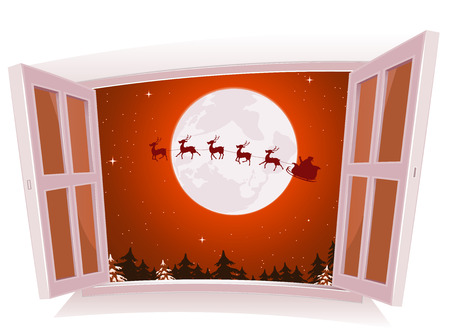 Illustration of a cartoon christmas holidays landscape outside an open window, with santa character and reindeer flying in sleigh Vector