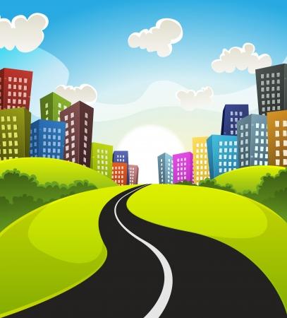 Illustration eines Cartoon-Straße fahren von Feldern und Wiesen Landschaft in die Innenstadt im Frühjahr oder Sommer