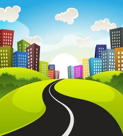Illustration of a cartoon road driving from fields and meadows landscape to downtown in spring or summer season Vector