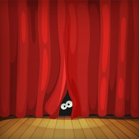 Illustrazione del fumetto occhi dell'uomo, creatura o animale buffo personaggio nascondersi e guardando da dietro le tende rosse in teatro palco di legno Vettoriali