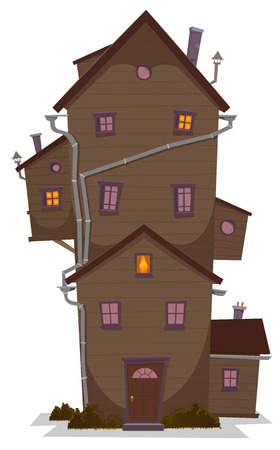 lots: Illustration of a cartoon high wooden house, castle or manor, with lots of windows and outbuilding, at night