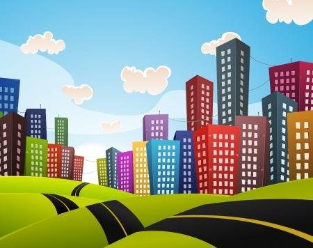 gebäude: Illustration einer Karikatur gekrümmten Straße fahren durch Stadtbild der Innenstadt im Frühjahr oder Sommer