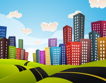 highrise: Illustration of a cartoon curved road driving through cityscape downtown in spring or summer season Illustration