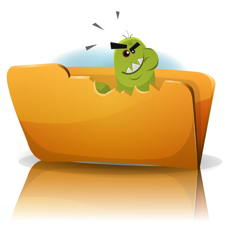 spyware: Ilustraci�n de un divertido gusano de dibujos animados virus troyano icono car�cter comer carpeta de datos, que simboliza el spyware, el malware y el ordenador infecci�n