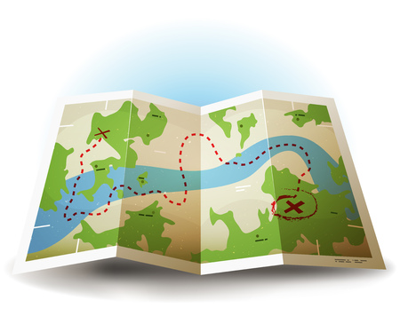 Illustration of a symbolized earth and treasure map icon with countries, river, and legends and grunge texture Ilustracja