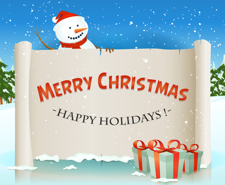 winter holidays: Illustration of a cartoon happy santa snowman character holding white parchment scroll sign, for merry christmas winter holidays and children gift list