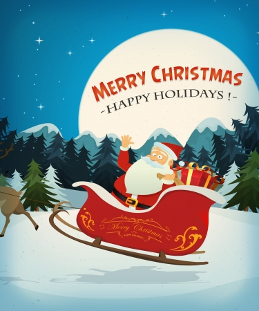Illustratie van de Kerstman personage besturen van een slee en zijn rendieren, in de sneeuw door de nacht, voor de kerstvakantie Stock Illustratie