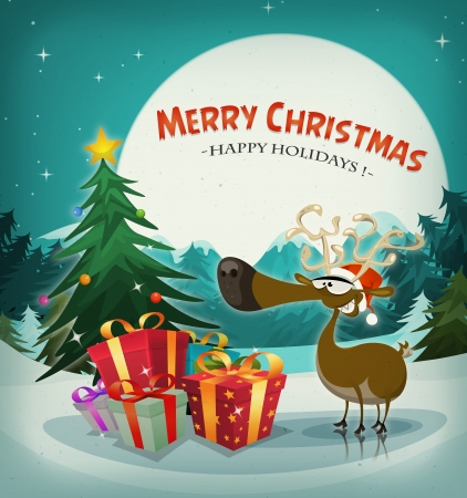 Illustration of a funny reindeer with santa claus hat next to christmas fir and gift pack, on winters eve holidays background landscape, with snow and full moon in the sky Vector