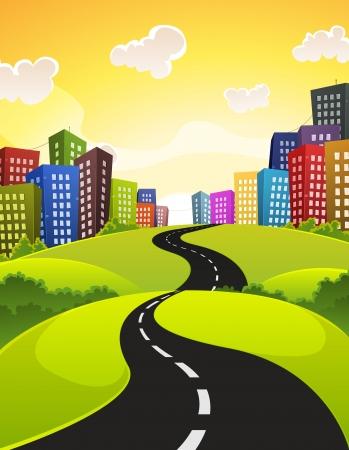 Illustratie van een cartoon stad weg rijden in het centrum in het voorjaar of de zomer, met velden, struik en weiden en glanzend hemel