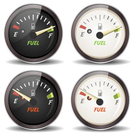 Illustration aus einer Reihe von Comic-Kraftstoffanzeige Symbolen, voll und leer, in Schwarz-Weiß-Version, für carsdashboard oder Sport-und Fahrgeräte Standard-Bild - 24531055