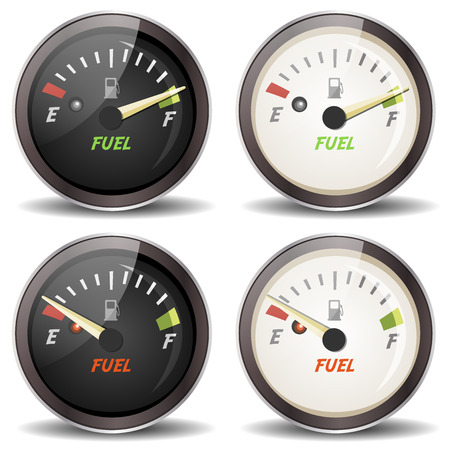 Illustration of a set of cartoon fuel gauge icons, full and empty, in black and white version, for carsdashboard or sports and driving equipment Illustration