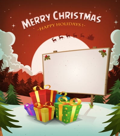 Illustration of a cartoon red christmas holidays background, with gifts, wood sign and santa character driving sleigh and reindeer in the snow and the moon light Vector