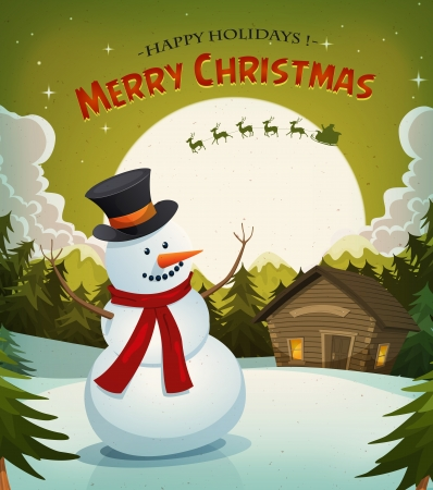 Illustration of a cartoon winter snowman on christmas holidays background with santa claus character driving sleigh and his reindeer, and rising moon Vector