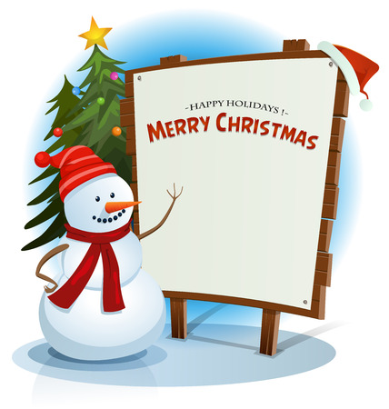 Illustration of a cartoon happy snowman character showing white paper on wood sign, with santa hat for christmas winter holidays and best wishes list
