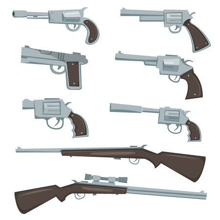 Illustration of a collection of cartoon silver guns, police colt and caliber, revolver, pistol and hunting or sniper rifles