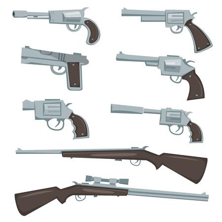 pistola: Ilustraci�n de una colecci�n de armas de fuego de plata de la historieta, potro de la polic�a y el calibre, rev�lver, pistola y la caza o rifles de francotirador