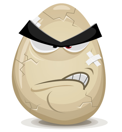 food fight: Illustration of a cartoon angry egg character with cracks, fissure and bandage