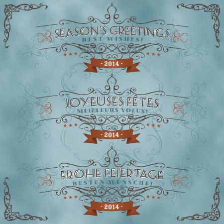 seasons greetings: Illustrazione di un insieme di epoca stagioni retr� saluti e gli auguri striscione in inglese, francese e tedesco lingua