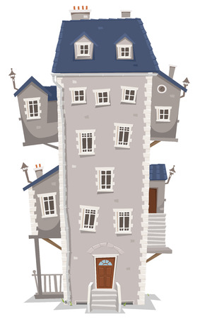 Illustration of a cartoon old high and big building home with windows, apartments and outbuildings on each side and stairs Illustration