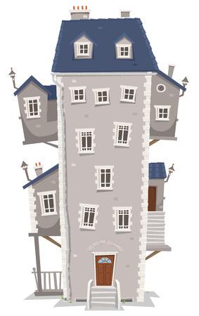 Illustrazione di un cartone animato vecchia casa di alta e grande edificio con finestre, appartamenti e annessi su ogni lato e scale Archivio Fotografico - 24916100