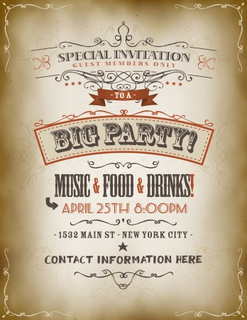 Illustration of a retro vintage invitation poster to a big party with floral patterns, sketched banners and grunge texture