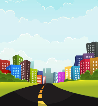 Illustration of a cartoon road going to town with fancy buildings Illustration