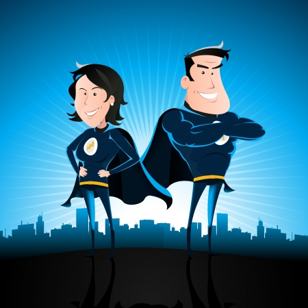 superman: Illustration of a cartoon couple of man and woman standing proudly with star burst shining and cityscape behind