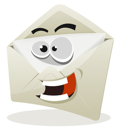 cartoon envelope: Illustration of a funny cartoon email envelope icon character over white background for your joyful contact and support Illustration