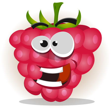 Illustration of a funny happy cartoon raspberry fruit character, looking happy, smiling and cheerful Illustration